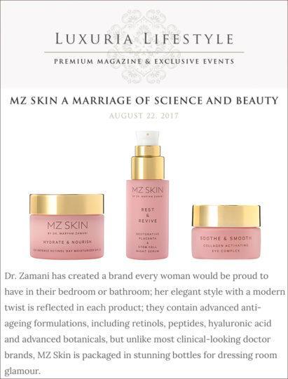 Luxuria Lifestyle features MZ Skin