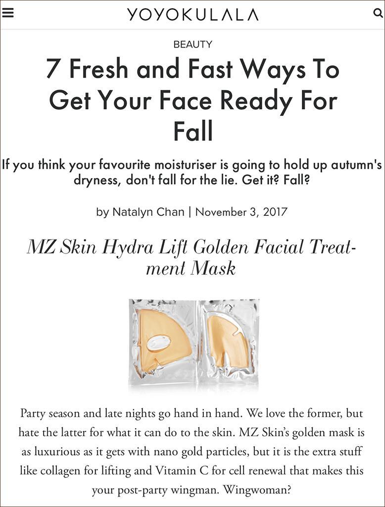 MZ Skin featured on YOYOKULALA on 13-11-17