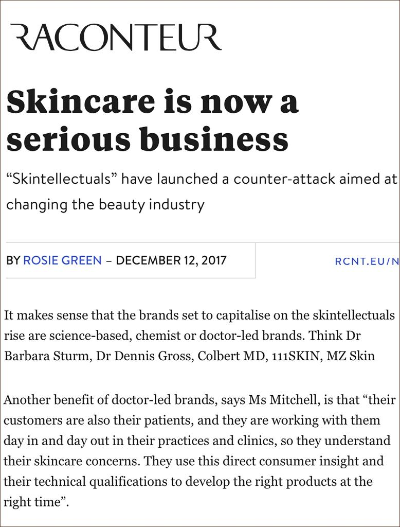 Raconteur features MZ Skin for Skintellectuals
