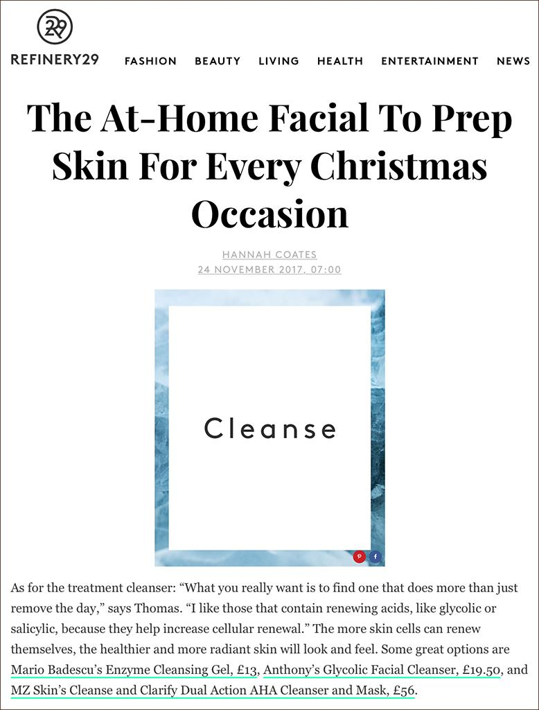 Refinery29 features MZ Skin Cleanser & Clarify