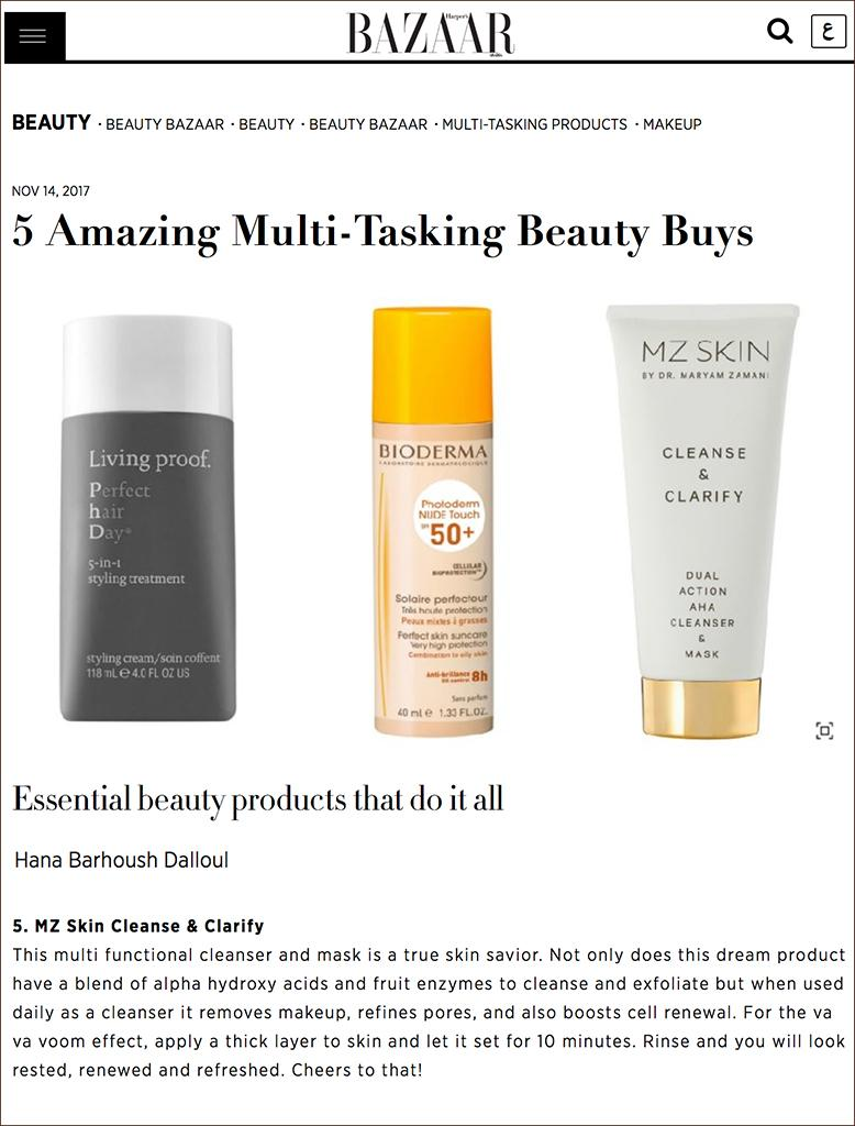 Harper's Bazaar Arabia features MZ Skin Cleanse & Clarify