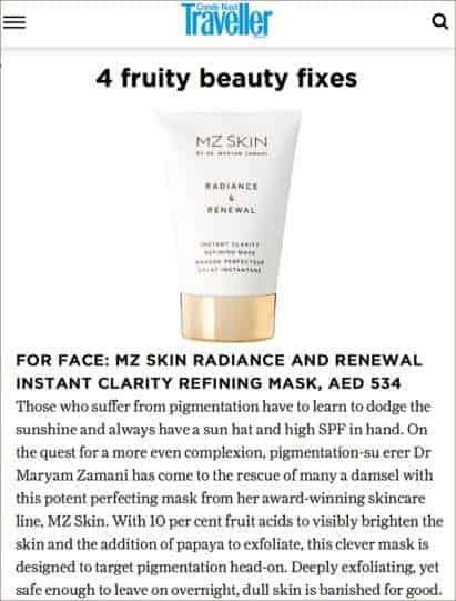 Conde Nast Traveller Features MZ Skin Radiance & Renewal