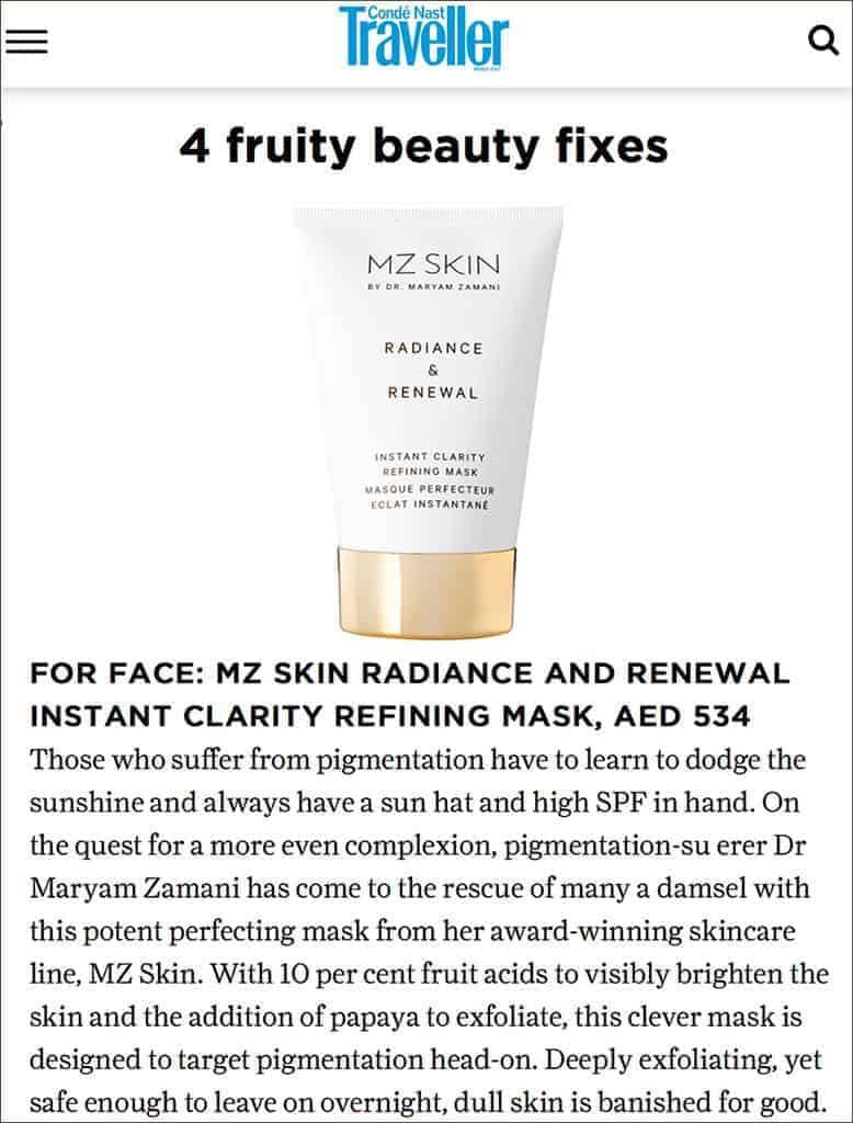 Conde Nast Traveller Features MZ Skin