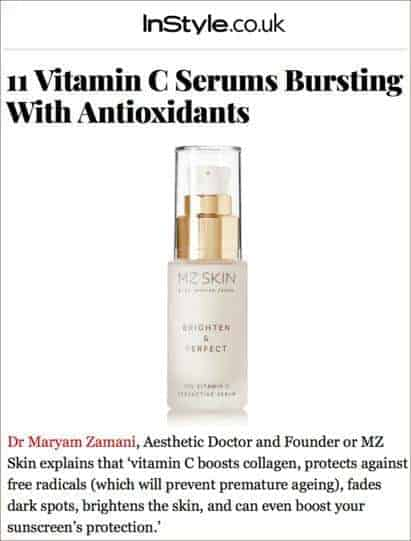 MZ Skin Brighten & Perfect Featured on Instyle