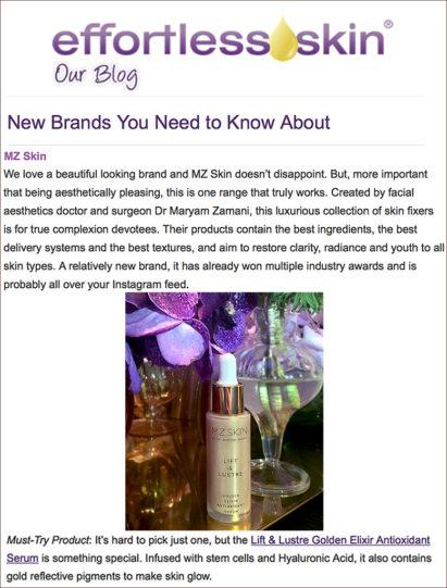 Effortless Skin Featured MZ Skin in New Brands