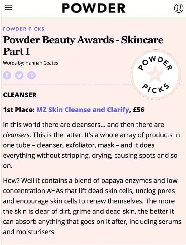 Cleanse & Clarify Wins Best Cleanser in Powder Beauty Awards