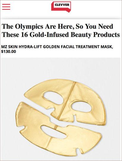 ClevverTV features MZ Skin in 16 Gold Infused Products for the Olympics
