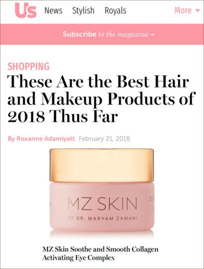 US Weekly features MZ Skin Soothe & Smooth Eye Cream