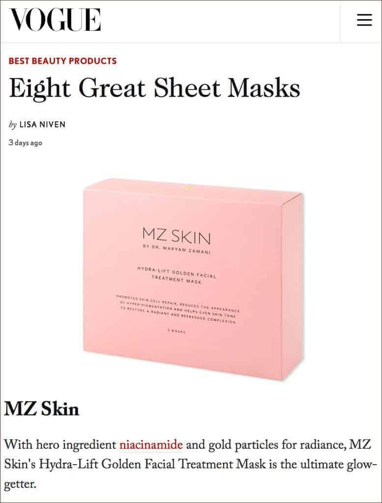 Vogue Magazine UK Featured MZ Skin Hydra Lift Golden Facial Treatment Mask