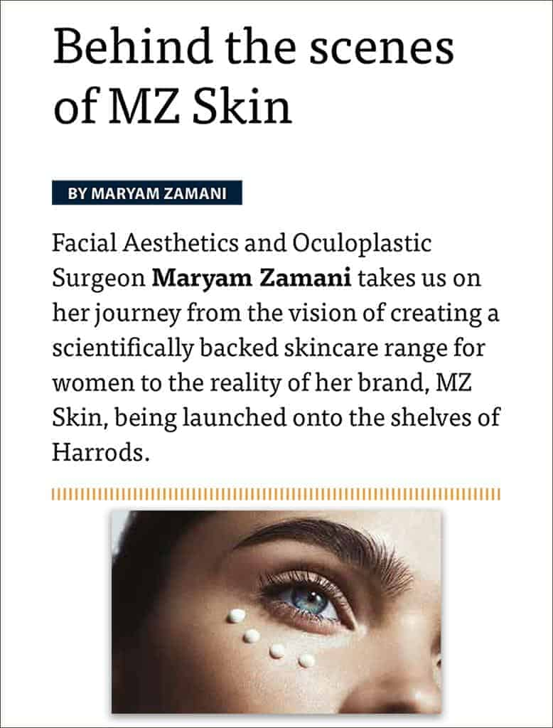 PMFA Journal features MZ Skin