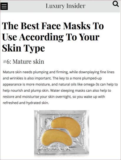 Luxury Insider featured MZ Skin Golden Eye Masks for Mature Skin