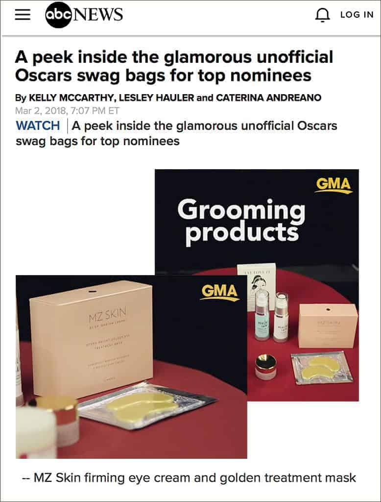 Good Morning America featured MZ Skin in the Oscar Gift Bags