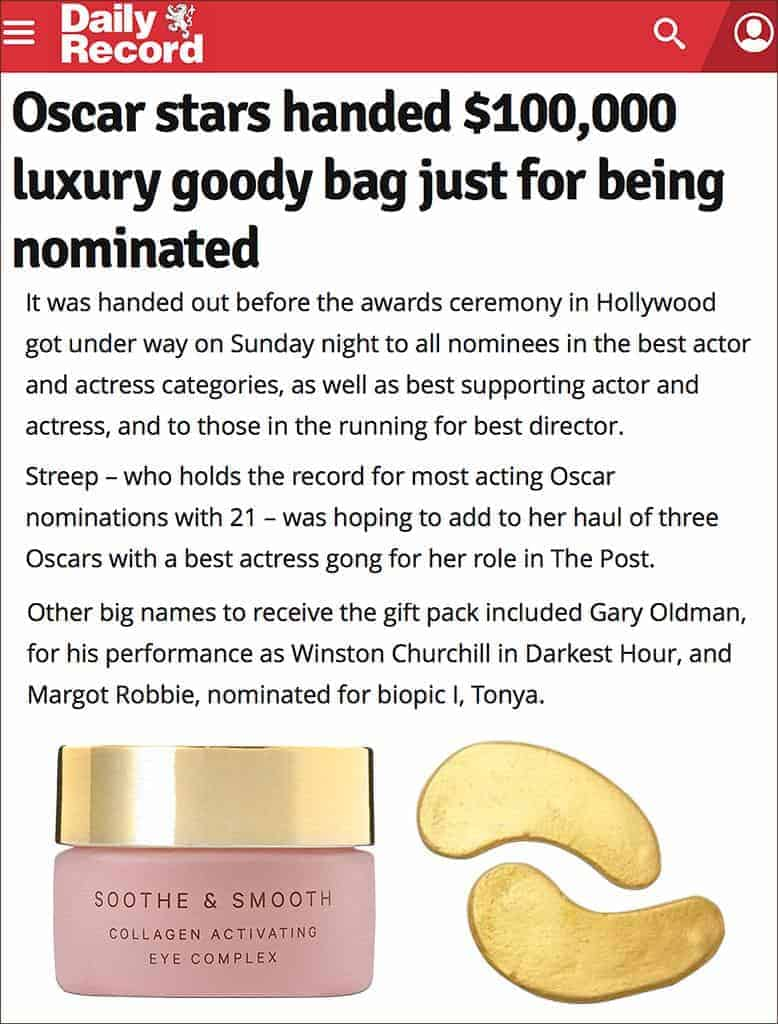Daily Record featured MZ Skin in the Oscars Gift Bags