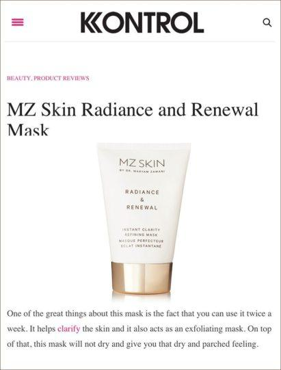 MZ Skin Radiance & Renewal featured in Kontrol Magazine