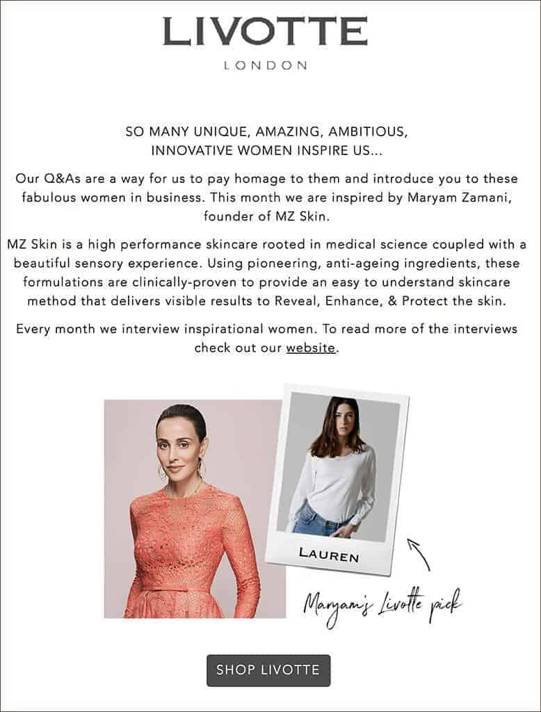 Founder of MZ Skin Featured in Livotte London as a Modern Woman
