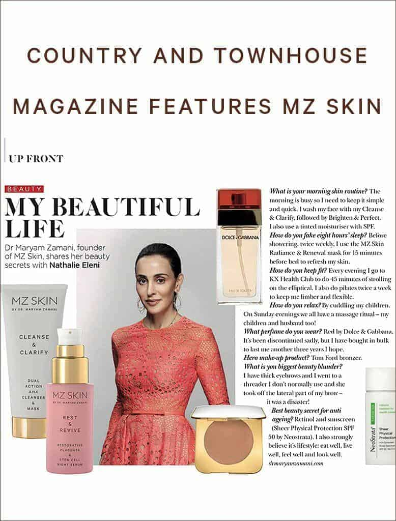 MZ Skin Featured in Country and Town House Magazine - MZSkin