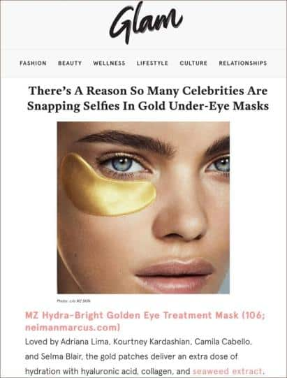 MZ Skin Hydra Bright Golden Eye Treatment Mask Featured in Glam