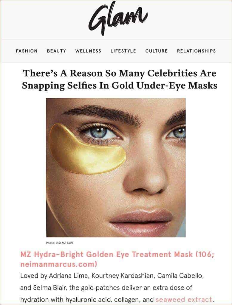 MZ Skin Hydra Bright Golden Eye Treatment Mask Featured in Glam