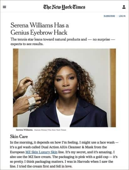 Serena Williams expresses her love for MZ Skin Featured in NY Times