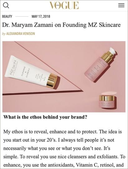 MZ Skin as featured in Vogue Arabia
