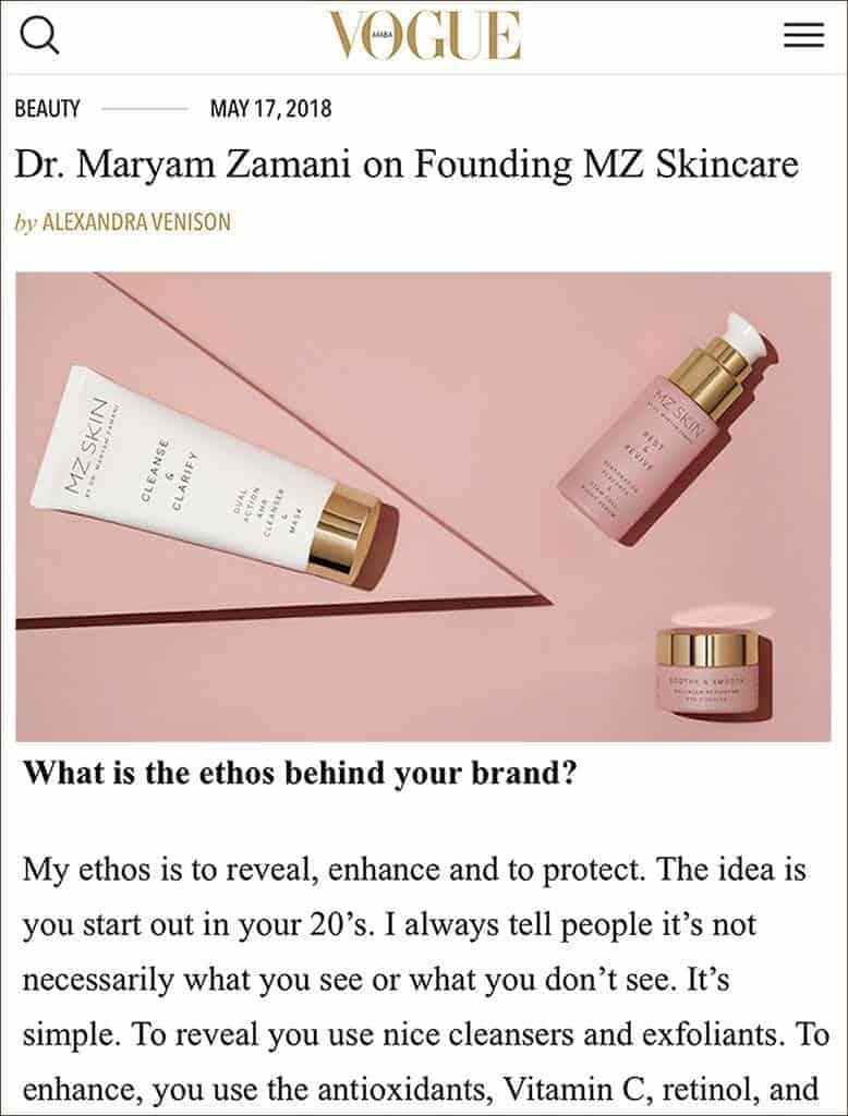 MZ Skin as featured in Vogue Arabia