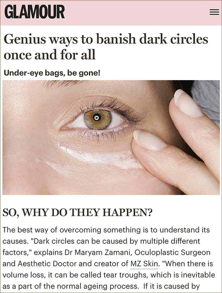 Founder of MZ Skin discusses tips on dealing with dark circles as featured in Glamour