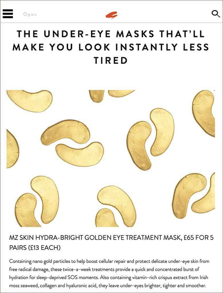 MZ Skin discussed to be a profound remedy for tired eyes as featured in Get the Gloss