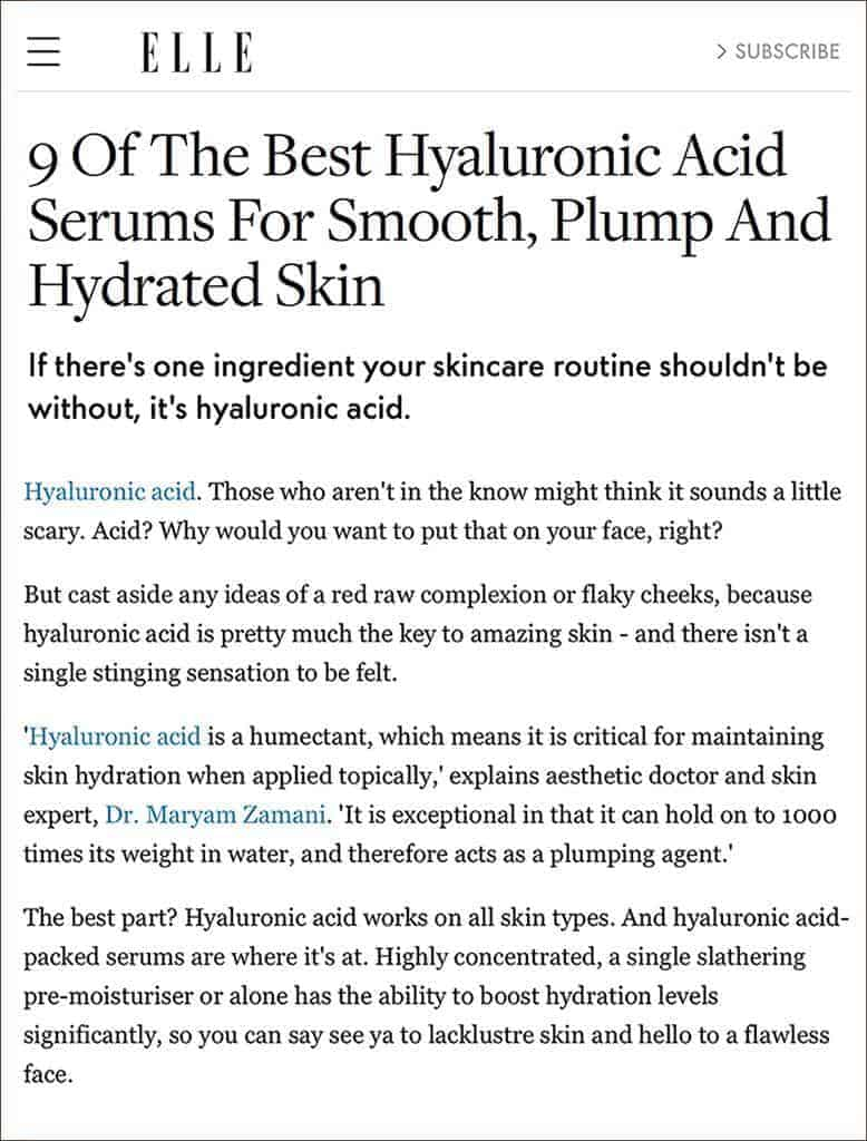 FOUNDER OF MZ SKIN DISCUSSES HYALURONIC ACID IN SKINCARE AS FEATURED IN ELLE