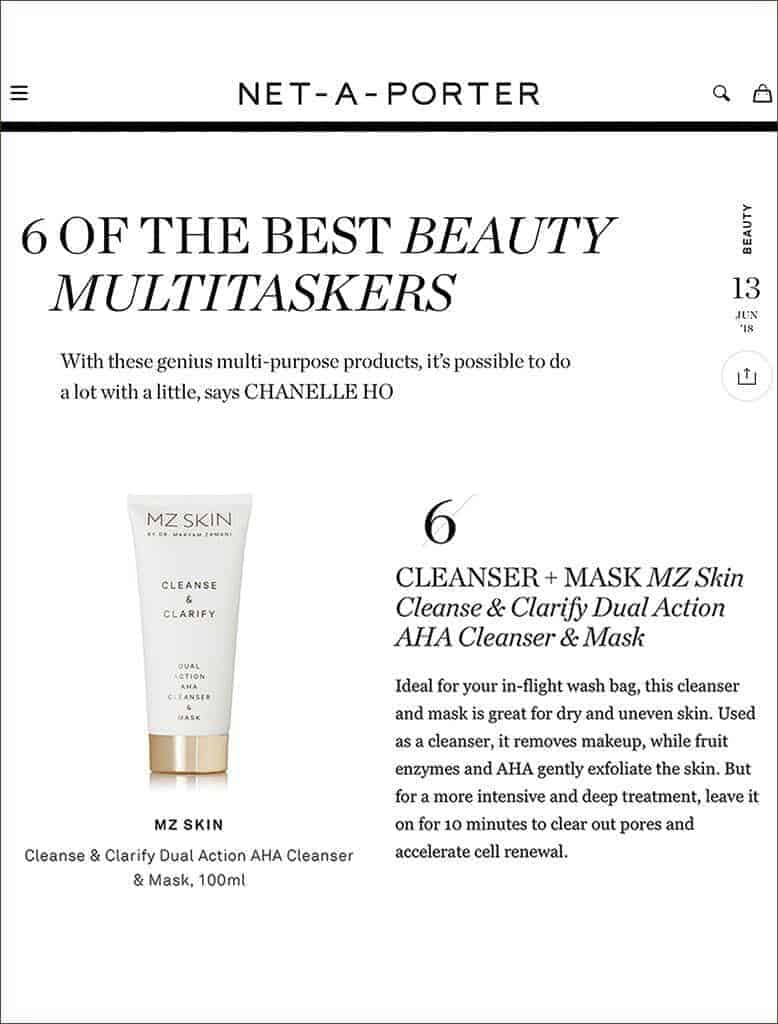 MZ Skin Cleanse and Clarify named as one of the best beauty multitaskers