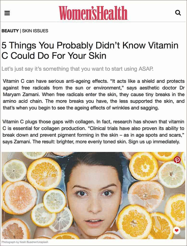 The anti-ageing effects of Vitamin C