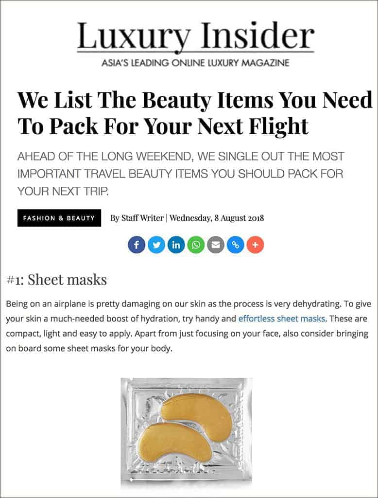 Luxury insider lists MZ sheet masks as an essential flight item