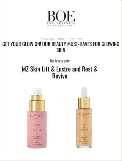 BOE magazine recommends MZ skin as a beauty must have for glowing skin