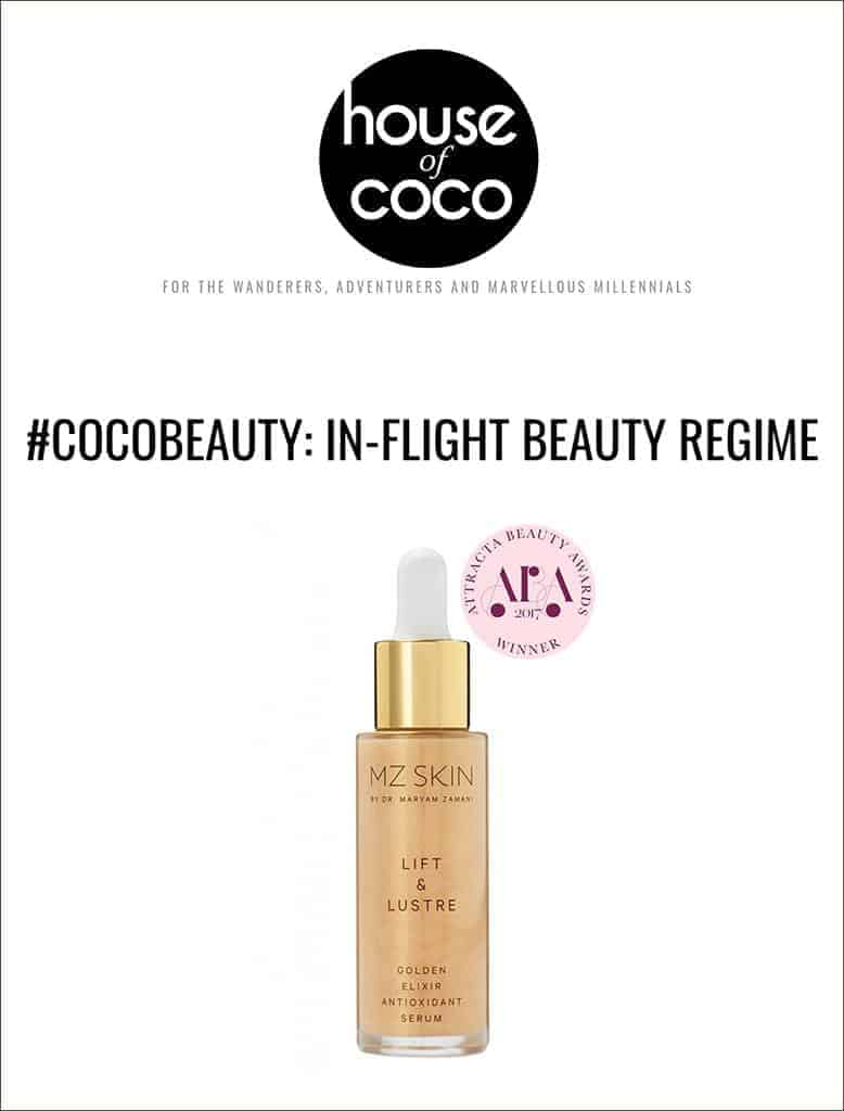 Lift and lustre featured as part of house of coco's in-flight beauty regime