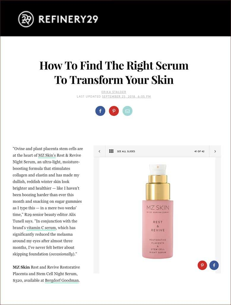 Rest & Revive featured on Refinery 29's list of serums that transform skin