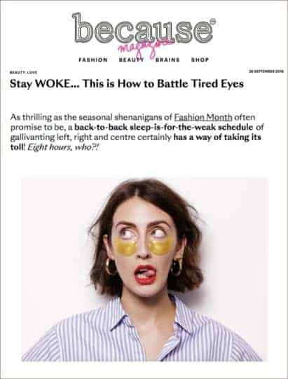 Hydra-Bright Golden Eye Treatment Mask Featured in Because Magazine