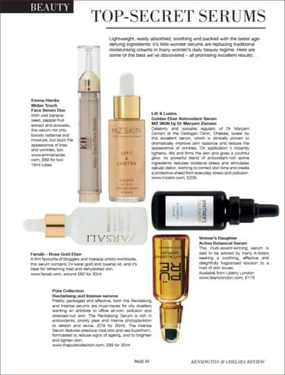 Lift and lustre featured among best top secret serums in Kensington & Chelsea Review.