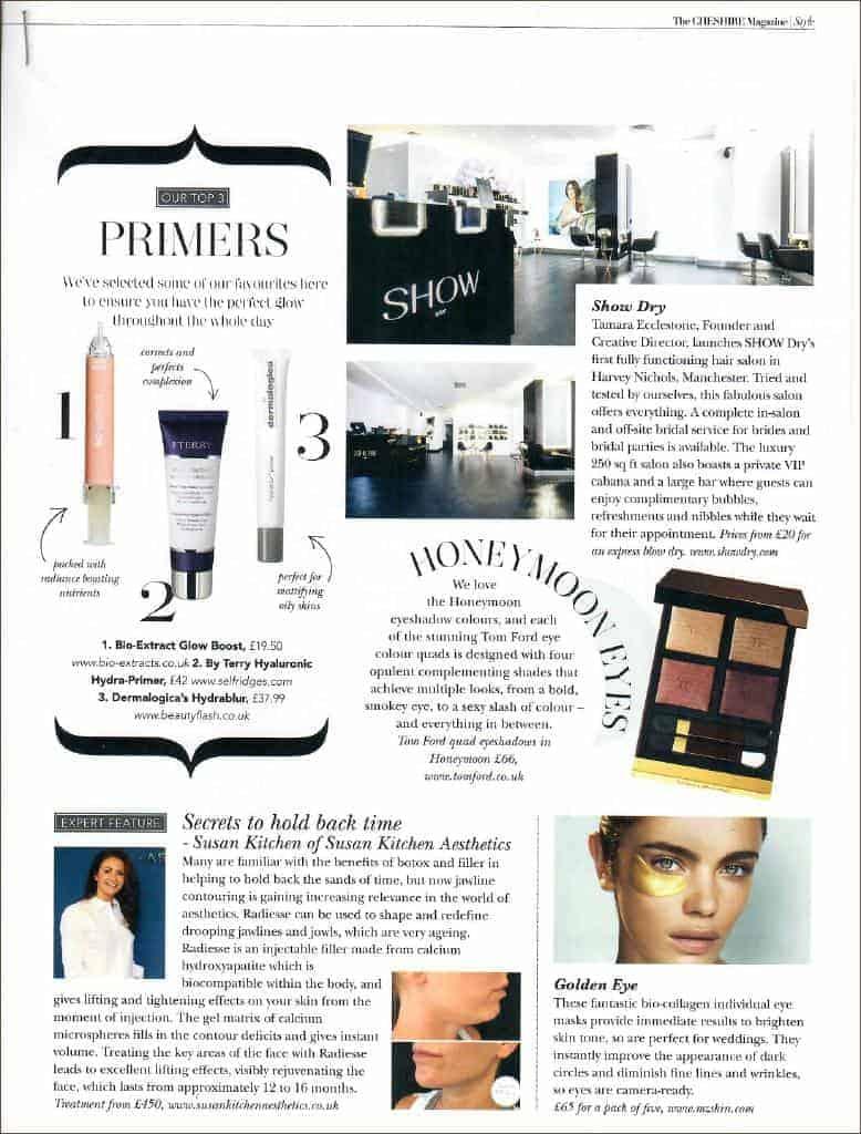 Hydra-bright golden eye treatment mask featured in Cheshire magazine