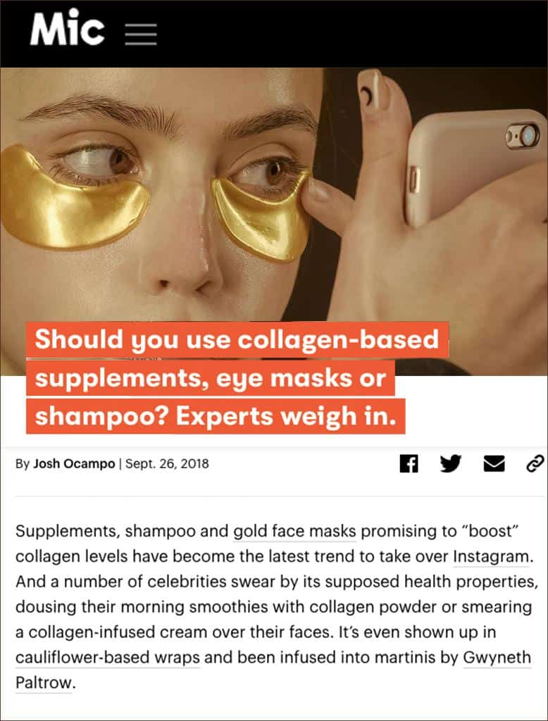 Hydra-bright golden eye treatment mask featured on Mic network