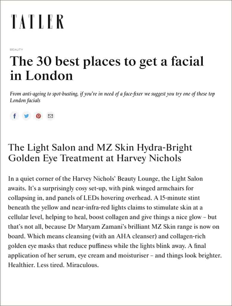 MZ Skin Hydra-Bright Golden Eye Treatment at the Light Salon is listed as one of the best places to get a facial in London!
