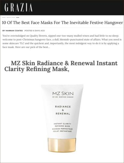 MZ Skin Radiance & Renewal is featured in Grazia discussing the best hangover cure!