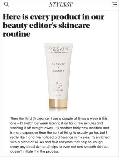 MZ SKIN FEATURED ON STYLIST ONLINE WITH CLEANSE & CLARIFY