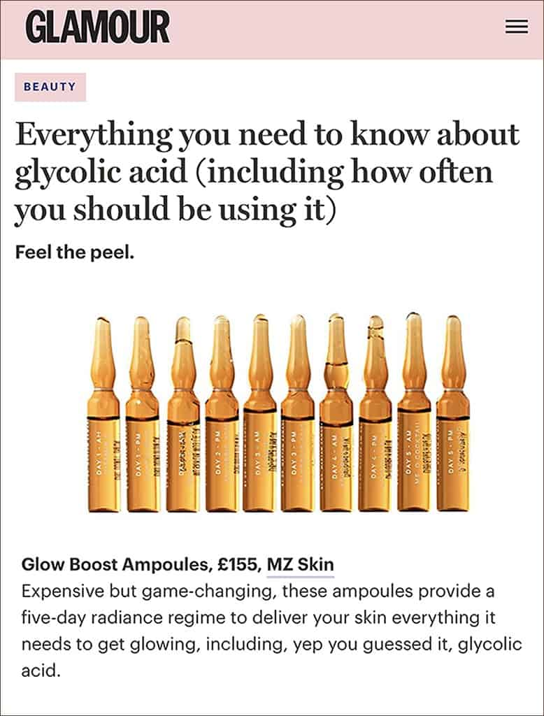 Glamour features Glow Boost Ampoules