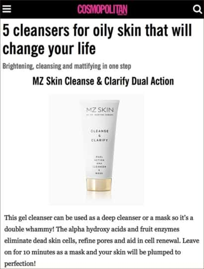 MZ Skin Cleanse & Clarify is featured in Cosmopolitan ME