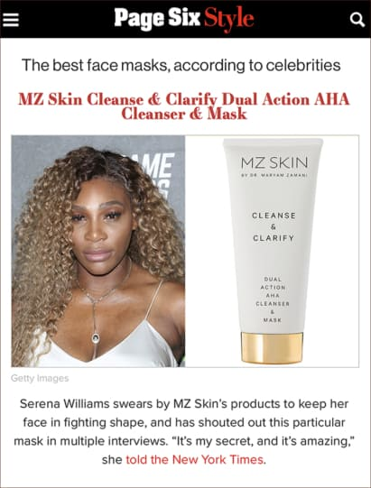 Page Six Style features Cleanse & Clarify as Serena Williams' favourite