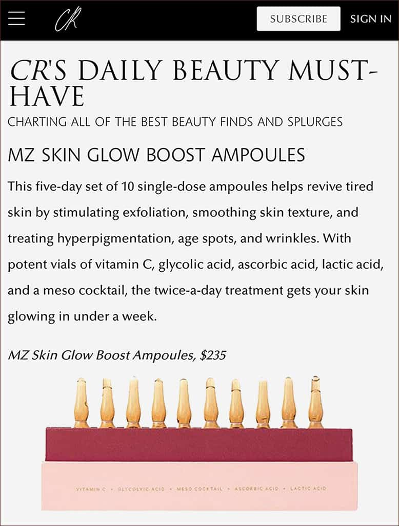 CR Fashion features Glow Boost Ampoules