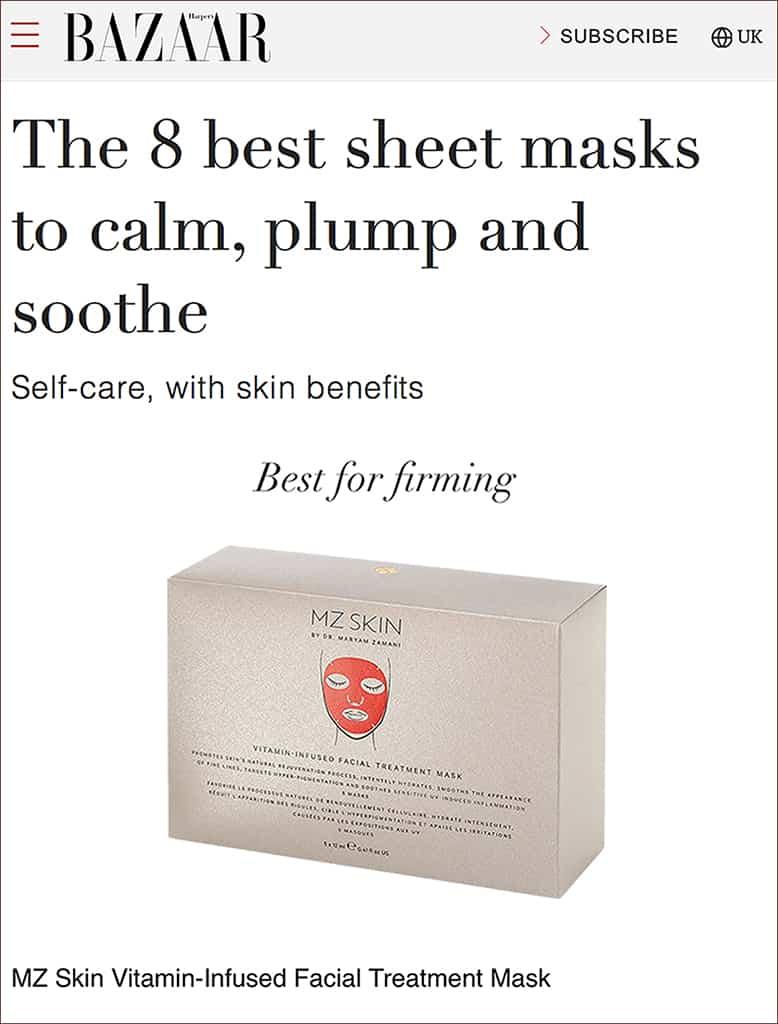 Harper's Bazaar features Vitamin-Infused Masks