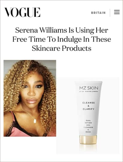 Vogue features Serena Williams favourite cleanser
