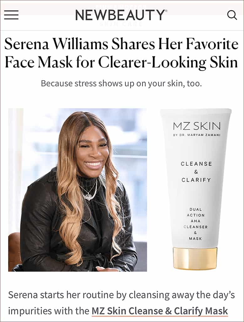 Serena williams loves cleanse & clarify