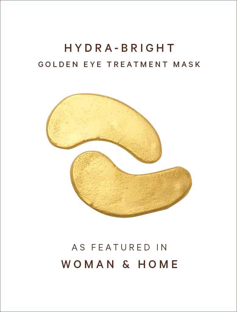 Gold eye masks featured in Woman & Home