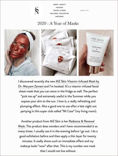 Sarah Nicollier loves MZ Skin masks